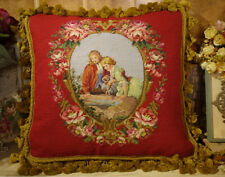 """18"""" CLASSIC RENAISSANCE Young Lovers Fountain Gorgeous Needlepoint Cushion"""