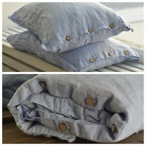 DUVET COVER set & pillow with button melange blue Stone Washed Seamless full