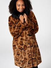 Dennis Basso Leopard Print Faux Fur Coat Large NEW