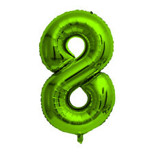 """Green Foil Party Balloon - Large 80cm (32"""") - Birthday Age - Number 8"""