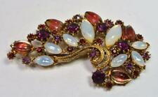 "Signed FLORENZA Goldtone Opal Glass Red Rhinestones CURVE Shape 3"" Pin Brooch"