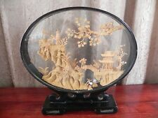 Asian Japanese Cork Art Carving Miniature Village Wood Case