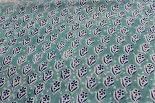 5 yard hand block Print Fabric Blue Green Print Small Batik Print Fabric KDMSTE7