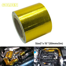 Car Wrap Tape Pipe Gold Temperature Heat Shield Roll Self Adhesive Reflective