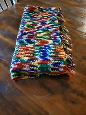 Vintage Handmade Afghan Throw In Bright Primary Colors