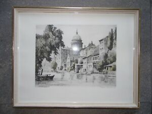 A View of  Potsdam Berlin. Signed Etching by Erika Lehmann, German Listed