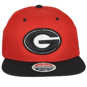 NCAA Zephyr Georgia Bulldogs Red Black Flat Bill Snapback Men Adjustable Hat Cap