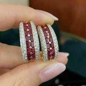2 Ct Baguette Cut Red Ruby & Diamond Half Hoop Earrings 14K Yellow Gold Finish