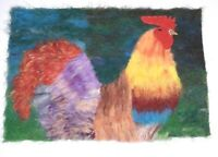 Needle felted Cockerel portrait plaque real wool ooak felted animal new