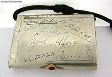 Antique Imperial Russian Silver 84 Cigarette Case Signatures Gold Ruby Pusher