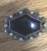 Antique Victorian Sapphire Blue Glass  Real Seed Pearl Brooch Pin Ornate