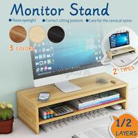 Wooden Monitor LED LCD Computer Stand Riser Desktop Holder File Storage Drawer