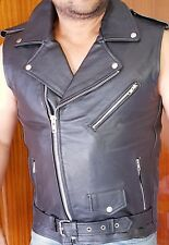 Bomber Chiodo Leather waistcoat Bicker Style  motorcycles vest.🎃Metta 89.99Euro