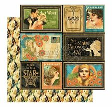 Graphic 45 2 sheets, Vintage Hollywood collection, Spotlight 12 x 12 paper