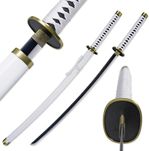 "One Piece Roronoa Zoro Steel Katana 41"" Samurai Sword Anime Cosplay, White"