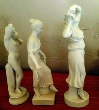3 Antique German Bisque All White Figurines 3 Godesses, No Damage