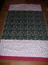CHRISTMAS QUILT HANDMADE 63.5 x 39.5 SANTA HOLLY BLANKET THROW REVERSIBLE RED