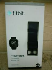 GENUINE Fitbit VERSA Leather Band Smartwatch sz Large, Midnight Blue FB166LBNVL