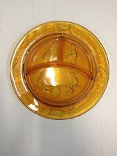 Vintage Amber Indiana Glass Childs Divided Plate Dish Indiana See Saw