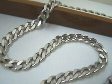 "SUPERB SOLID STERLING SILVER MENS FLAT CURB LINK CHUNKY 20"" CHAIN NECKLACE HEAVY"