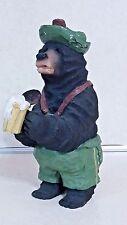 Black Bear Resin Figurine In Alpine Outfit Handpainted Drinking Stein Of Beer