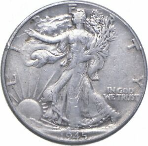 XF+ 1945 Walking Liberty 90% Silver US Half Dollar - NICE COIN *639