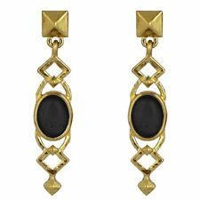 HOUSE OF HARLOW Goldtone Lady of Grace Black Oval Stone Stud Post Drop Earrings