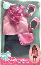 """Funrise What a Doll! Sweetheart Denim Set Fits 18"""" Dolls Matching Fashion Outfit"""