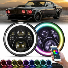 Pair 7inch Headlights Led Rgb Halo Projector Drl Hilo Fit For Mustang 1965 1978 Fits Mustang