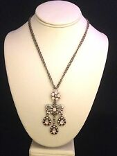 Signed V&A Necklace Victoria & Albert Museum Pink Garland Droplet Crystals 6G