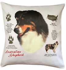 More details for australian shepherd history breed dog group cotton cushion cover - perfect gift