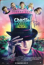 JOHNNY DEPP SIGNED CHARLIE AND THE CHOCOLATE FACTORY MINI POSTER W/PROOF W/COA