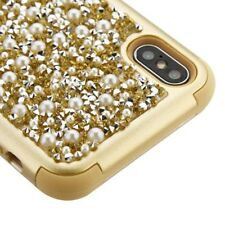 """For iPhone XS Max (6.5"""") HARD & SOFT Hybrid Armor Case Gold Diamond Bling Pearls"""