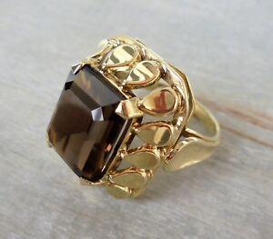 Vintage Ring mit einem Rauchquarz aus 585 Gold (gestempelt)