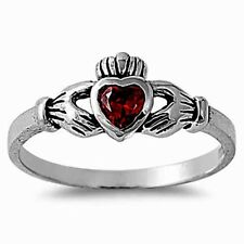 USA Seller Claddagh Ring Sterling Silver 925 Best Baby Jewelry Garnet CZ Size 6