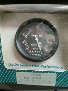 "Datcon H/D Ind.Series Gauge 100242 Tach. w/Hr.Meter 4000RPM 12/24V  3 3/8"" Black"