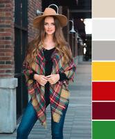 Ultra Cozy! Women's Soft Plaid Kimono Poncho Warm Winter Shawl Flannel One Size