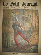 DRAPEAU 169e INFANTERIE SAUVé DU FEU SAINT-MALO LA VAGUE LE PETIT JOURNAL 1914