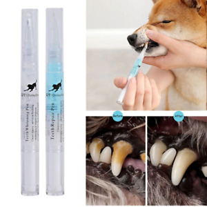 Pet Teeth Cleaning Repair 2 Tubes Kit Dog Cat Tartar Dental Stone Cleaning Pen