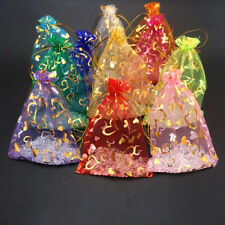 100/50/20/10/1PCS Organza Gift Bag Gilding Drawstring Gift Wrap Party Favor NEW
