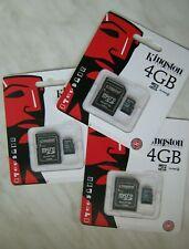 Lot of 3pcs Kingston 4GB microSDHC Class 4 memory card with SD adapter microSD