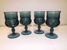 4 INDIANA GLASS TEAL SMOKE BLUE THUMBPRINT KINGS CROWN WINE GLASSES