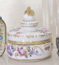 Dresden Style Torch Trinket Box Handpainted Round Dresser Box Antique Porcelain