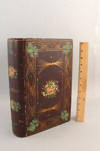 19thC Antique American Folk Art Painted Wood, Book Box  NO RESERVE