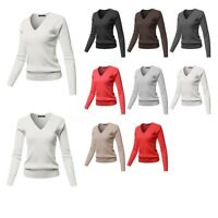 FashionOutfit Women's Solid V-Neck Long Sleeve Viscose Nylon Cable Knit Sweater