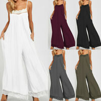 Damen Clubwear Sommer Playsuit Lose Wide Leg Party Jumpsuit Romper Overall Hose