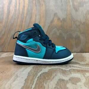 Nike Air Jordan 1 High TD Hyper Jade / Metallic Silver Baby Crib Shoes - Size 7C
