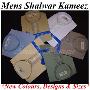 Mens Pakistani Indian Shalwar Kameez Kurta Plain Emroidered Muslim Eid Suit Gift