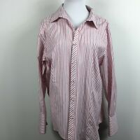 Talbots Sz 16W Button Up Shirt Pink Red Stripe Long Slv Wrinkle Resist Cotton