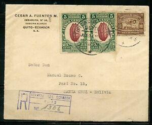 ECUADOR QUITO 6/27/1931 R- COVER TO SANTA CRUZ BOLIVIA AS SHOWN